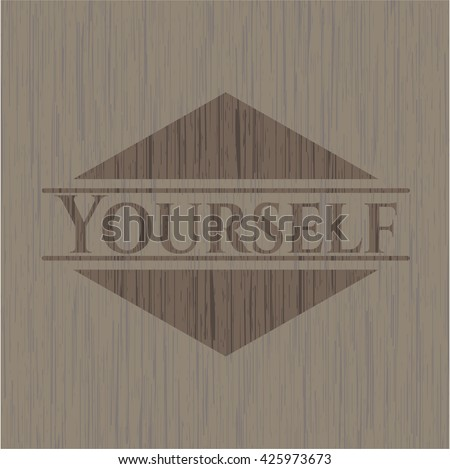 Yourself badge with wood background