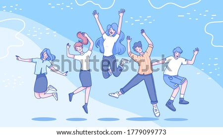 Youth are jumping character design of vector. Doodle illustration design. Youth day concept.