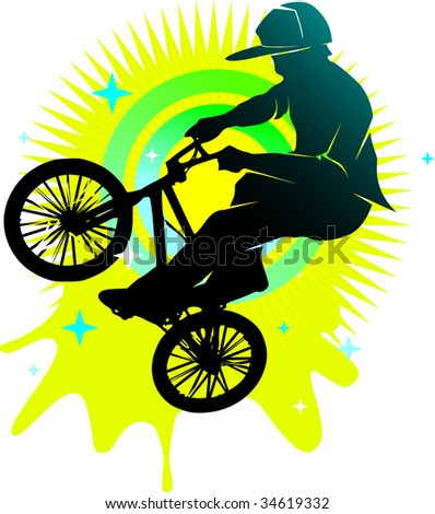 youth bmx cyclist style illustration