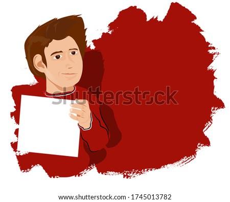 Youth character holding a blank paper Vector Illustration. Boş bir sayfa tutarken düşünen, bakan, anlayan, kırmızı kazaklı  genç öğrenci. Kırmızı zeminli metin için boş alan. Stok fotoğraf ©