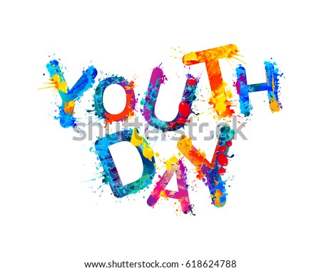 youth day. splash watercolor...