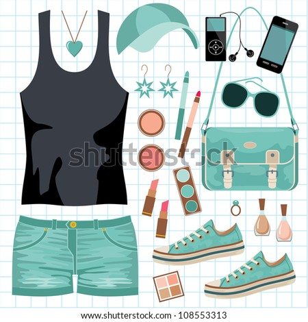 Youth fashionable set. vector