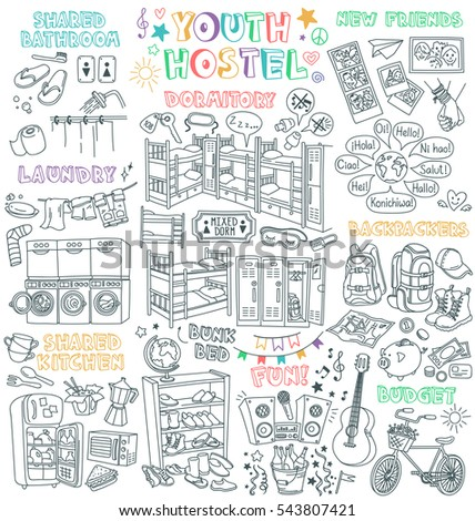 youth hostel vector drawings