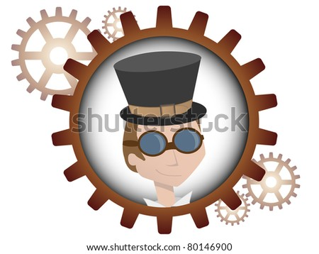Youthful cartoon steampunk man inside gear