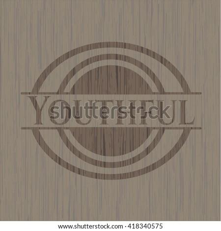 Youthful wooden emblem. Retro