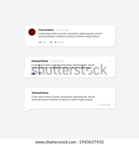 Youtube Comment Template. Social Media Text Bubbles. Set of Modern Comment Bubbles, Bubble Template. Vector illustration
