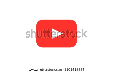 YouTube icon Red button video player Social media YouTube. Vector illustration.