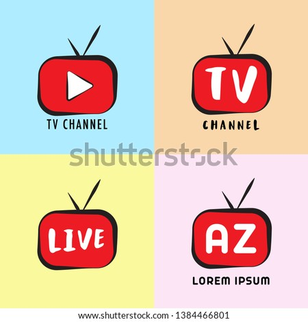 Youtube, Instagram, Live Streaming, Online Television, Web TV, Simple, Alphabetic, Pictorial, Cartoon Concept with play button, Red, Black, Colorful Background, TV Channel Logo Design Template