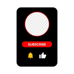 Youtube Profile Interface Black Pop Up Window. Subscribe Button. Bell, Like. Vector Illustration On White Background