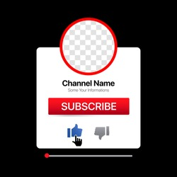 Youtube Profile Interface. White Pop Up Window. Subscribe Button. Bell, Like. Vector Illustration with Blank Background