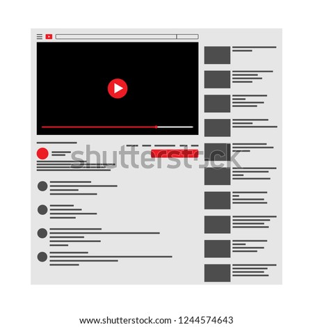 Youtube . Vector browser window with video player web site mock up . User Comments. Media Player template . Video player Interface. Vector illustration.