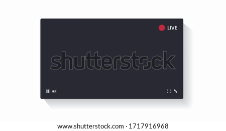 Youtube video player mockup. Social media content. Streaming. Blogging. Dark video player window isolated on a white background. Vector illustration