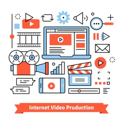 Youtuber video production studio and social media marketing. Independent clip and film-making. Thin line art flat illustration with icons.
