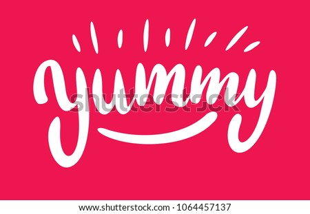 Yum. Yummy word. Vector lettering on pink background.