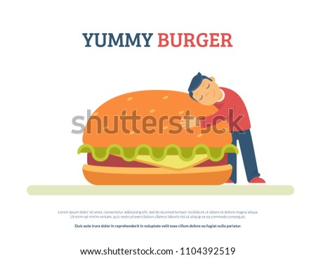 Yummy burger concept flat vector illustration of funny boy lovely hugging a big hamburger. Isolated on white background with copyspace for text