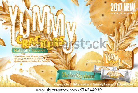 yummy crackers ad  close up