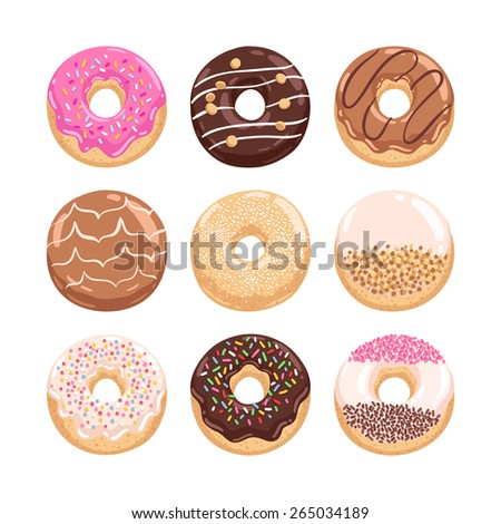 Yummy donuts collection vector illustration part 1