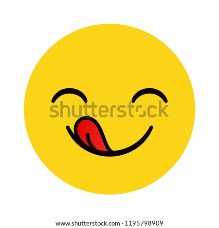 Yummy emoticon with happy smile and tongue. Delicious cartoon character sign isolated on white background. Vector illustration.