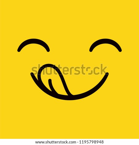 Yummy emoticon with happy smile and tongue enjoying great taste. Delicious logo isolated on white background. Vector illustration.