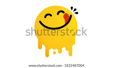 Yummy face happy smile vector cartoon line emoticon with tongue lick mouth. Delicious tasty food eating emoji face on yellow design background Yum icon vector