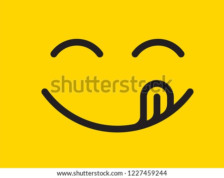 Yummy smile vector cartoon line emoticon with tongue lick mouth. Delicious tasty food eating emoji face on yellow design background