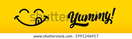 Yummy, tasty delicious icon or smile tongue lick, vector food logo. Yummy smile or yum face mouth with delicious licking tongue
