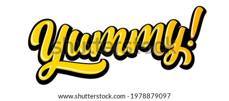 Yummy text doodle for tasty delicious food, yum vector text logo. Yummy lettering cartoon for delicious tasty or yum licking food