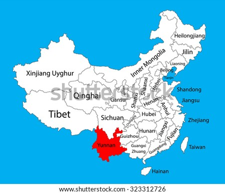 Yunnan Province Map China Vector Map Illustration Isolated On