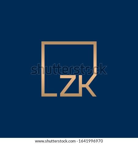 Z & K monogram logo inside square frame. Stok fotoğraf ©
