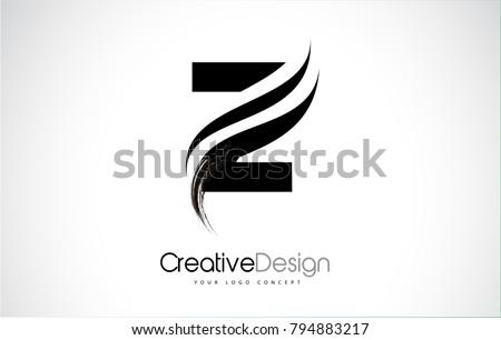 Z Letter Logo Design Brush Paint Stroke. Artistic Black Paintbrush Stroke.