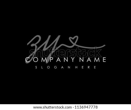 Z Y Initial handwriting logo vector Zdjęcia stock ©