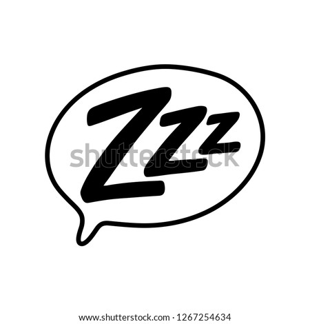 Z-z-z text on text bubble. Printable graphic tee. Design doodle for print. Vector illustration. Colorful tag. Zzz Cartoon hand drawn comic style. Icon for sleeping mode