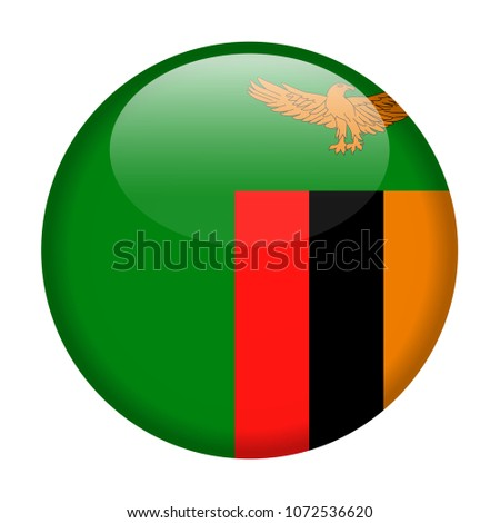 Zambia Flag Vector Round Icon - Illustration