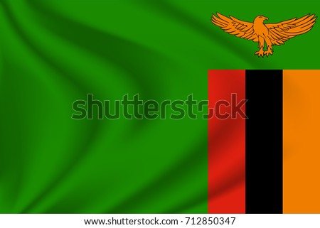 Zambian flag background with cloth texture. Zambian Flag vector illustration.