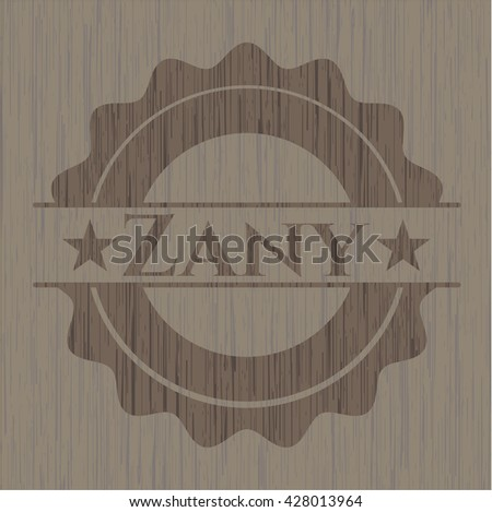 Zany badge with wood background