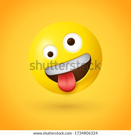 Zany face emoji - Silly face emoticon - A yellow face with a big grin and wide, white eyes, one larger than the other and in a wild, cockeyed expression with tongue stuck out and head tilted Stock photo ©