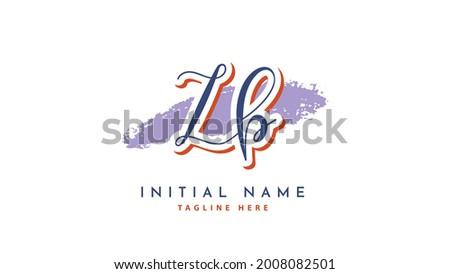 ZB Initials, handwriting logo vector Zdjęcia stock ©