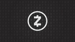 Zcash crypto currency Binary wallpaper with logo. Black and silver