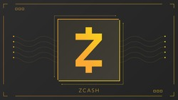 Zcash cryptocurrency colorful gradient logo on dark background with thin line decoration.
