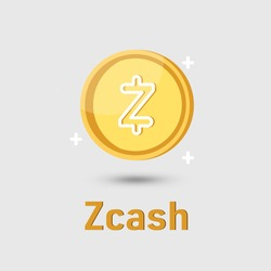 Zcash (ZEC) cryptocurrency icon. Gold Zcash Coin cryptocurrency. Illustration for logo adaptation design web site mobile app, EPS10.