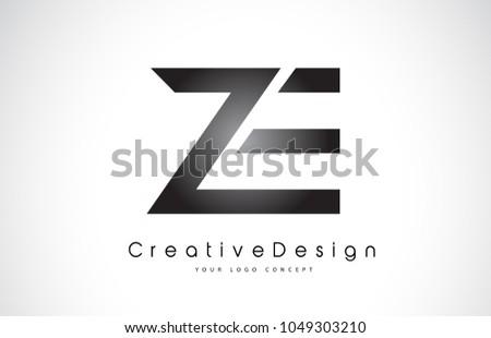 ZE Z E Letter Logo Design in Black Colors. Creative Modern Letters Vector Icon Logo Illustration. Zdjęcia stock ©