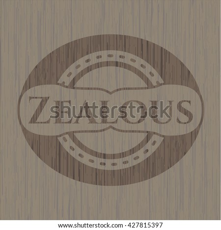 Zealous badge with wood background