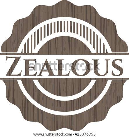 Zealous badge with wooden background