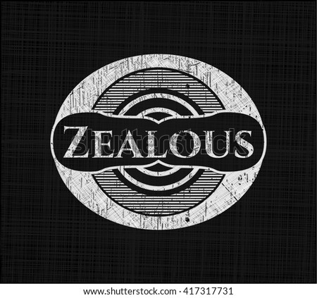 Zealous chalk emblem written on a blackboard
