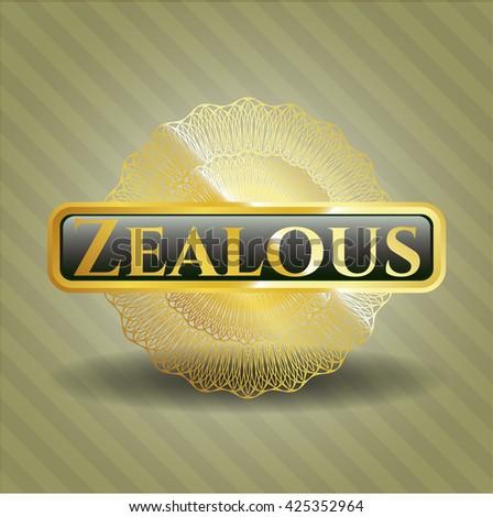 Zealous gold badge or emblem