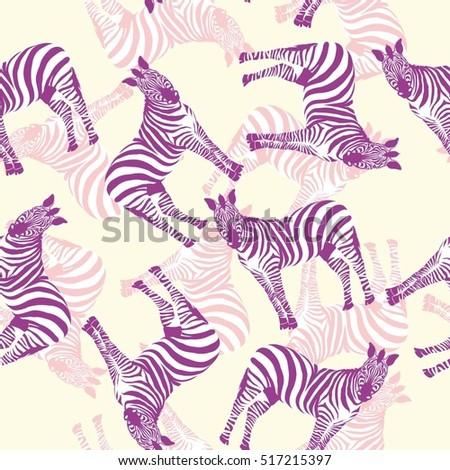 Zebra animal pattern - a vector illustration pattern #517215397