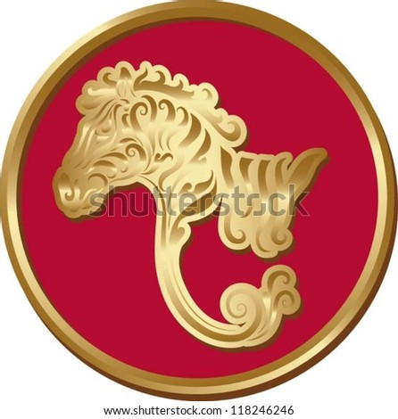 Zebra coin.  Animal with golden floral ornament decoration