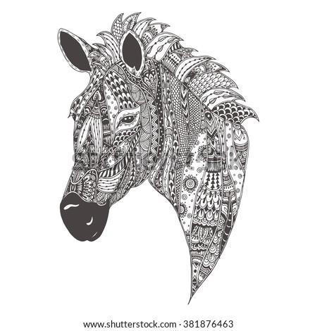 zebra hand drawn zebra with