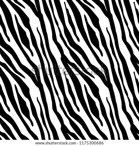 Stock Photo Zebra Stripes Seamless Pattern. Zebra print, animal skin, tiger stripes, abstract pattern, line background, fabric. Amazing hand drawn vector illustration. Poster, banner. Black and white artwork