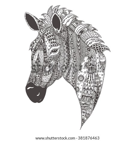 zebra with ethnic floral doodle